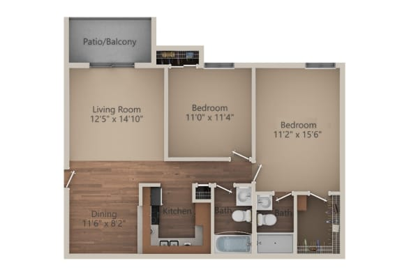 Floor Plan  2 Bed 2 Bath (950 sq ft) Floor Plan at Whisper Hollow Apartments, Maryland Heights