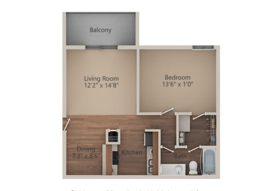 Floor Plan  1 Bed 1 Bath (700 sq ft) Floor Plan at Whisper Hollow Apartments, Maryland Heights, MO