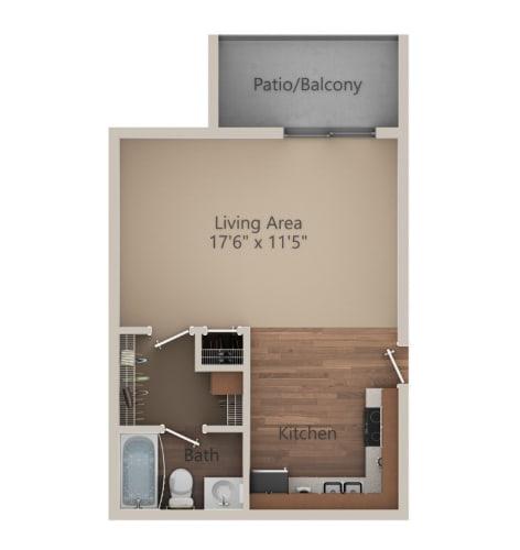 Floor Plan  Studio 1 Bath (400 sq ft) Floor Plan at Whisper Hollow Apartments, Maryland Heights, MO, 63043