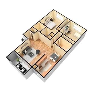 Floor Plan  2X1  Floor Plan Glendora CA 91740 | Grand Terrace Apartments