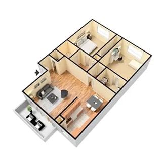 Floor Plan  2X2   Floor Plan Glendora CA 91740 | Grand Terrace Apartments