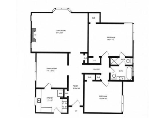 Floor Plan  2x1.5 floor plan. l The Monterey Garden Apartments in San Mateo CA