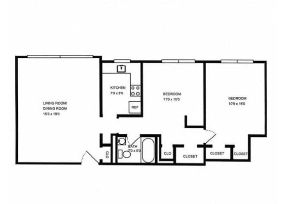 Floor Plan  2x1 floor plan. l The Monterey Garden Apartments in San Mateo CA