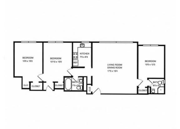 Floor Plan  3x2 floor plan.l The Monterey Garden Apartments in San Mateo CA