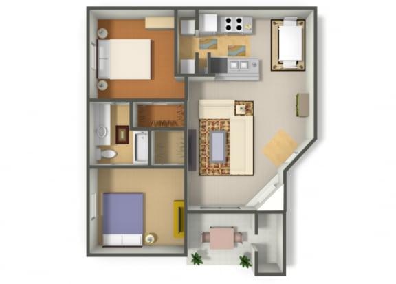 Floor Plan  Two Bedroom One Bathroom floor plan