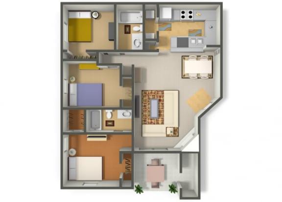 Floor Plan  Three Bedroom Two Bathroom floor plan