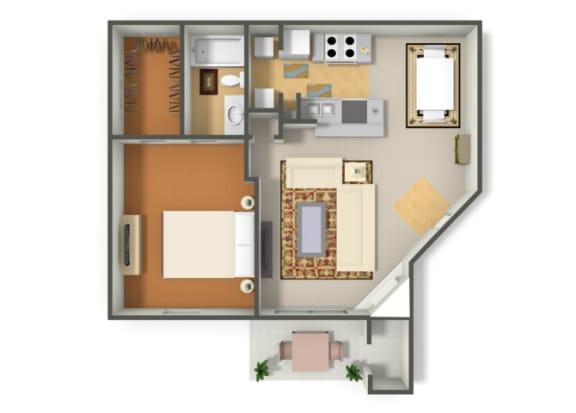 Floor Plan  One Bedroom One Bathroom floor plan