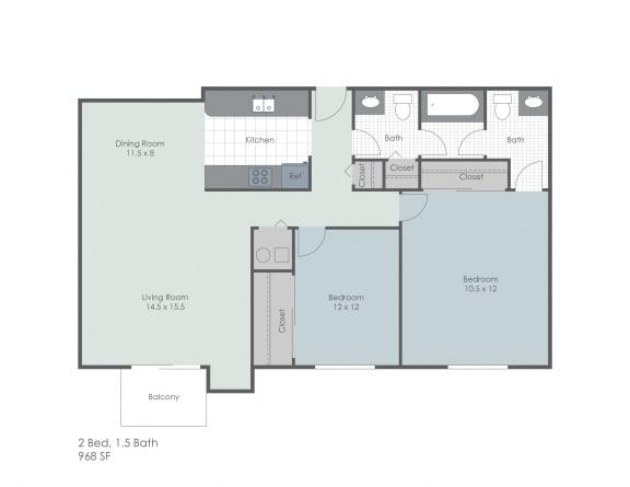 Floor Plan  Two bedroom apartment floor plan layout