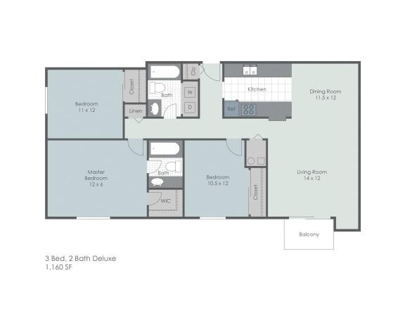 Floor Plan  Three bedroom two bath floor plan