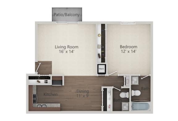 Floor Plan  1 Bedroom 1.5 Bath Floor Plan at The Greenway at Carol Stream, Carol Stream, Illinois