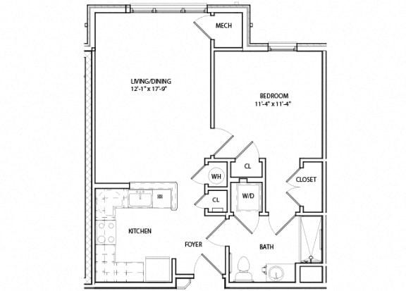 Floor Plan  Victory Crosing Unit 1A 1 Bedroom Floor Plan