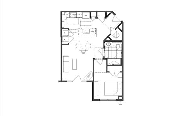 Floor Plan  One-Bedroom (1A HC)