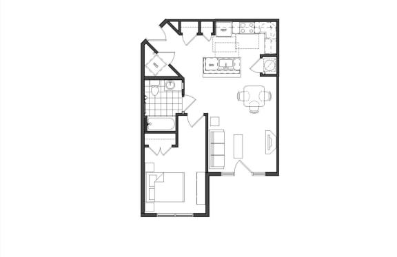 Floor Plan  One-Bedroom (1A)