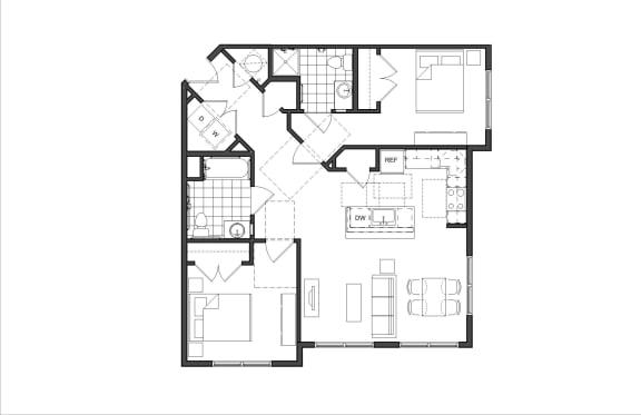 Floor Plan  Two-Bedroom (2A HC)