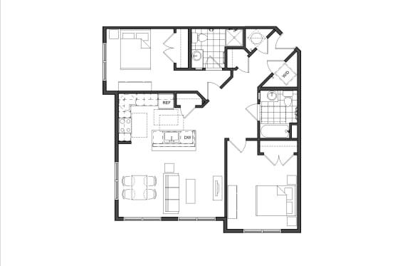 Floor Plan  Two-Bedrooom (2A)