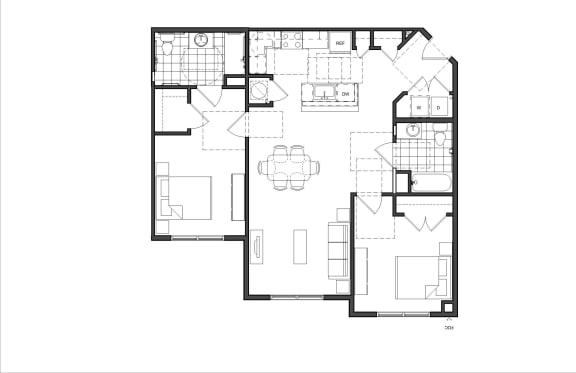 Floor Plan  Two-Bedroom (2B HC)