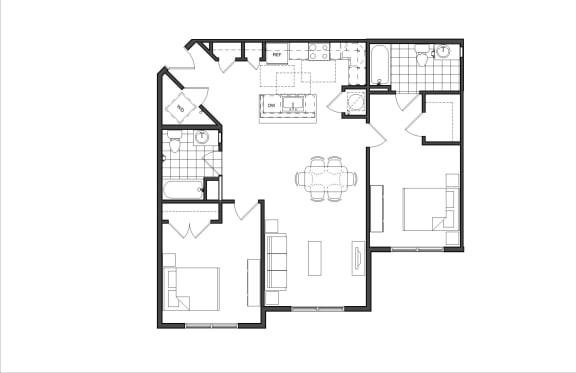 Floor Plan  Two-Bedroom (2B)