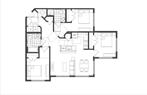 Floor Plan  Three-Bedroom (3A HC)