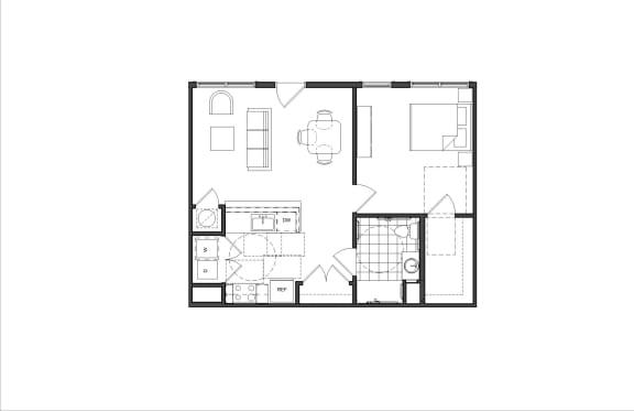 Floor Plan  One-Bedroom (M1 HC)