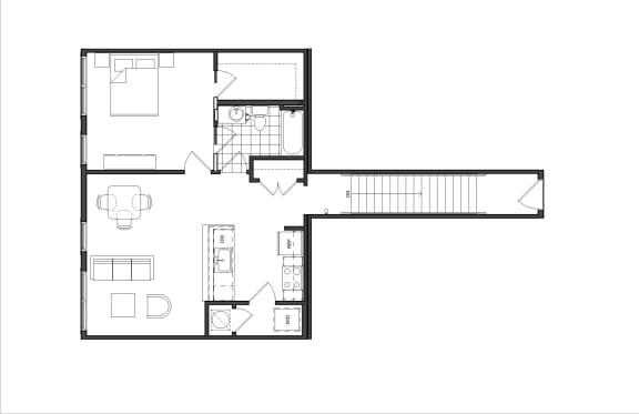Floor Plan  One-Bedroom (M1A)