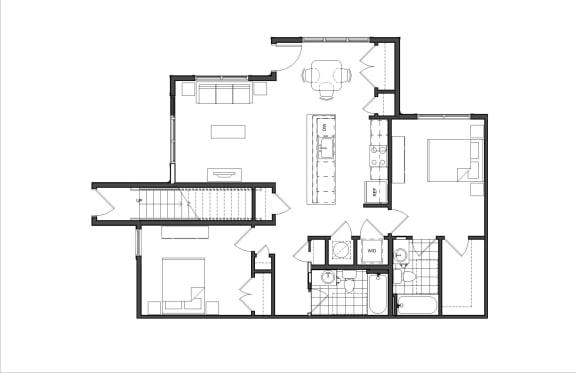 Floor Plan  Two-Bedroom (M2A)