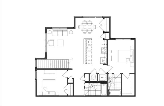 Floor Plan  Two-Bedroom (M2B)