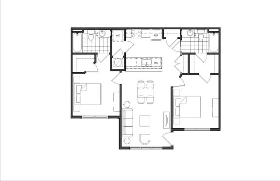 Floor Plan  Two-Bedroom (M2C)