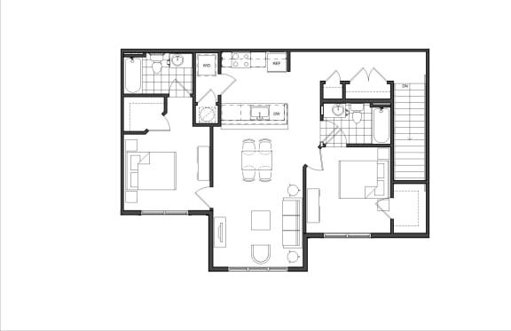 Floor Plan  Two-Bedroom (M2D)