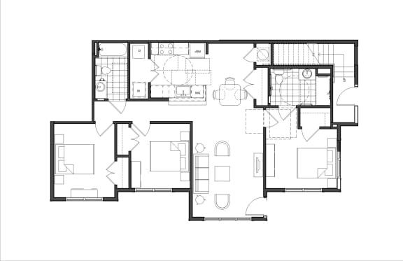 Floor Plan  Three-Bedroom (M3A HC)