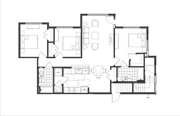 Floor Plan  Three-Bedroom (M3A)