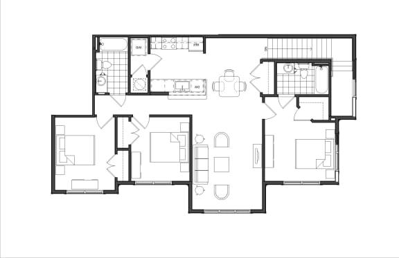 Floor Plan  Three-Bedroom (M3B)