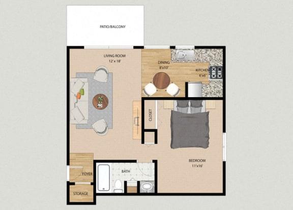 Floor Plan  Breeze 1 Bedroom 1 Bathroom Floor Plan at The Moorings