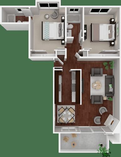 Floor Plan  Parkside Apartments_San Anselmo CA_Floor Plan_The Alameda_Two Bedroom Two Bathroom
