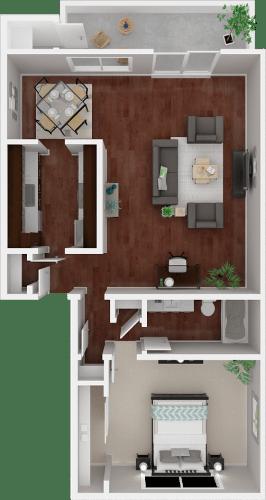Floor Plan  Parkside Apartments_San Anselmo CA_Floor Plan_The Mendocino_One Bedroom One Bathroom