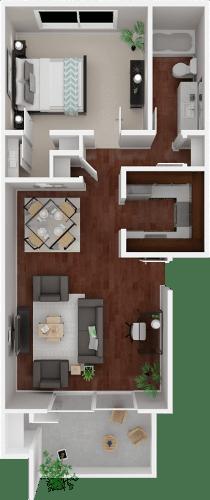 Floor Plan  Parkside Apartments_San Anselmo CA_Floor Plan_The Solano_One Bedroom One Bathroom
