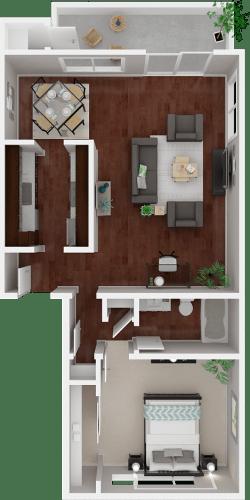 Floor Plan  Parkside Apartments_San Anselmo CA_Floor Plan_The Sonoma_One Bedroom One Bathroom