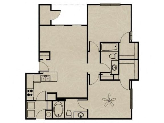 Floor Plan  2 Bedroom, 2 Bath 955 sqft
