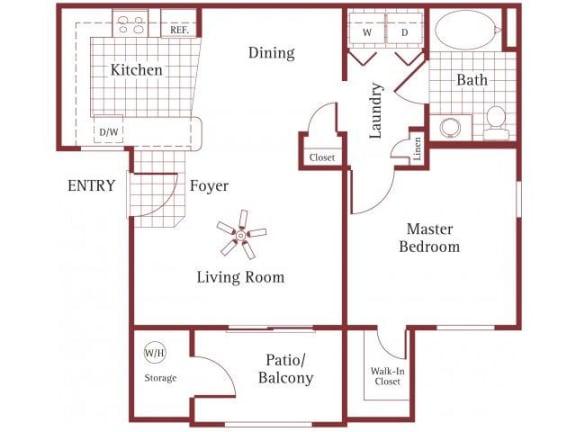 Floor Plan  1 bedroom 1 bathroom at La Borgata Apartments in Surprise, AZ