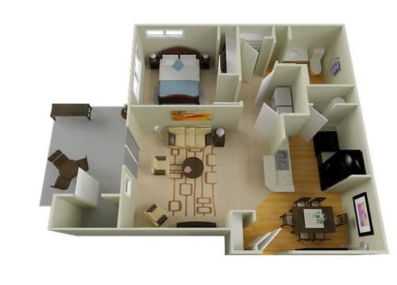 Floor Plan  Richland, WA Badger Mountain Ranch Apartments 1 bedroom 1 bath
