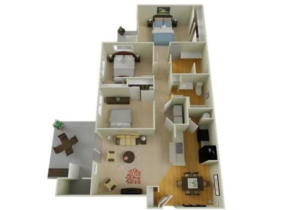 Floor Plan  Richland, WA Badger Mountain Ranch Apartments 3 bedroom 2 bath
