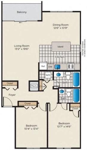 Floor Plan  2 Bedroom, 2 Bath - Renovated