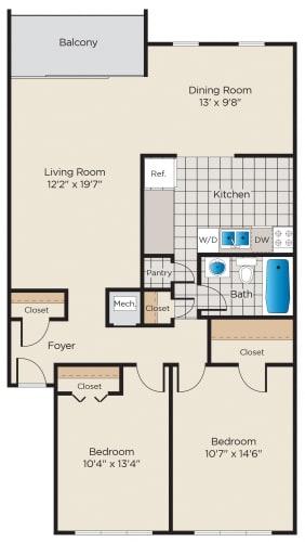 Floor Plan  2 Bedroom, 1 Bath - Upgraded