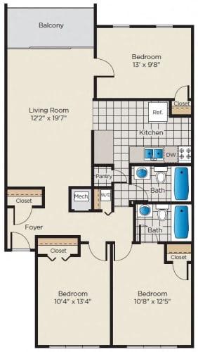 Floor Plan  3 Bedroom, 2 Bath - Renovated