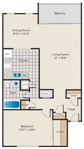 Floor Plan  1 Bedroom - Upgraded