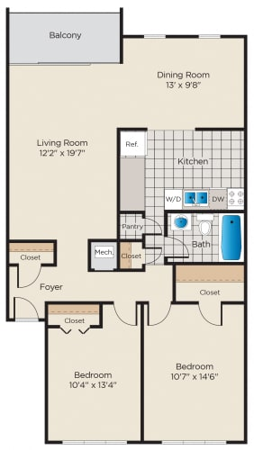 Floor Plan  2 Bedroom - Classic