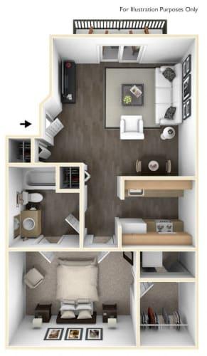 Floor Plan  Revere Ridge Apartments_Spokane Valley WA_Floor Plan_One Bedroom One Bathroom A