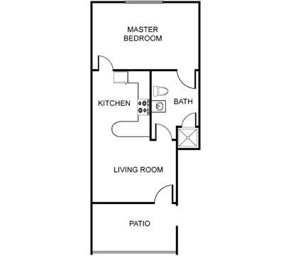 Floor Plan  Furnished Large One Bedroom (Starting at $1400)