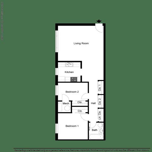Floor Plan  2 BR 1 Bath