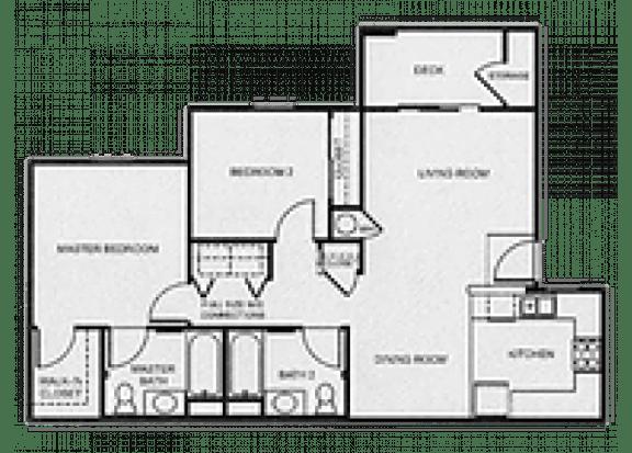 Floor Plan  2x2 Market floor plan at Aspen Ridge Apartments in Albuquerque, NM