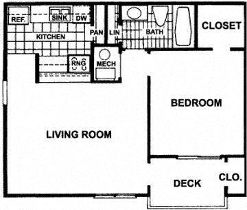 Floor Plan  1 bedroom 1 bathroom floor plan